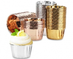 Foil Cupcake Liners, Cupcake Baking Cups Pans, Muffin Cups, Disposable Foil Baking Cups for Party Wedding Birthday